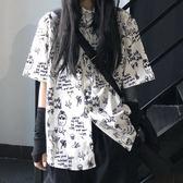 夏季韓國ins原宿風街頭嘻哈暗黑系個性涂鴉短袖襯衫男女寬松襯衣