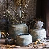 多肉花盆 非洲藝術老罐 復古工藝水泥罐壇子花瓶花盆花器民族風
