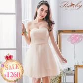 洋裝 花朵蕾絲蝴蝶結壓摺平口禮服洋裝-Ruby s 露比午茶