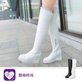 韓系時尚簡約菱格紋拉練圓頭長靴/2色/35-43碼 (RX1266-906) iRurus 路絲時尚