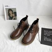 馬丁靴女日系文藝復古薄款百搭小短靴【小酒窩服飾】