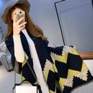 羊毛絨長披肩-秋冬菱形加厚保暖女圍巾4色73hy2【時尚巴黎】