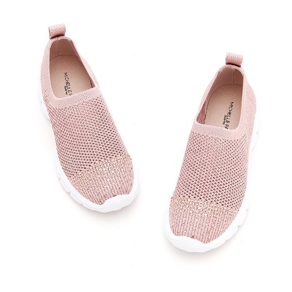 MICHELLE PARK 華麗步調 半版水鑽彈性網面鏤空透氣休閒鞋-粉紅色