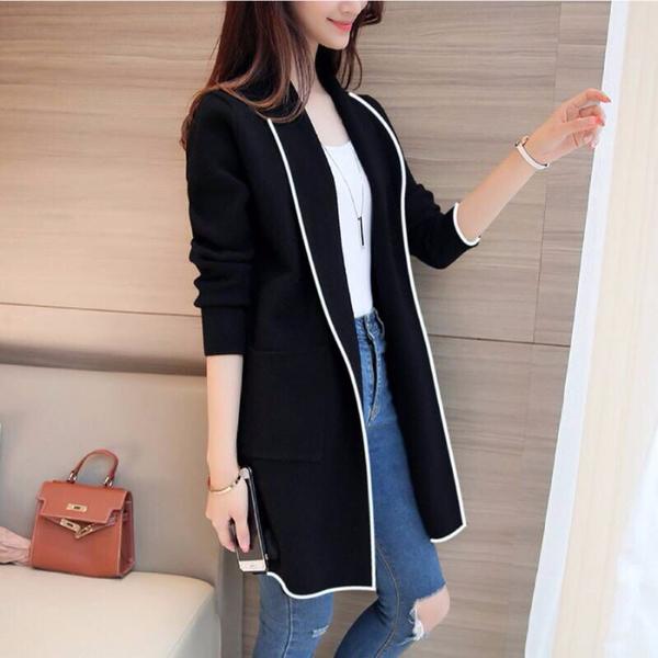 VK精品服飾 韓系時尚西裝領開衫寬鬆單品長袖上衣外套