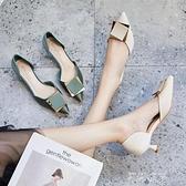細跟秋鞋單鞋女夏百搭2021年新款淺口尖頭設計感小眾小清新高跟鞋