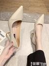 中跟鞋 2021年秋季新款韓版網紅粗跟單鞋尖頭淺口高跟鞋黑色上班鞋女鞋OL 智慧e家 新品