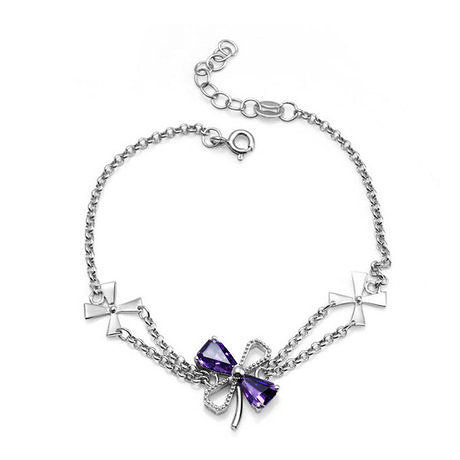 銀鍍白金 紫水晶四葉草 銀手鏈