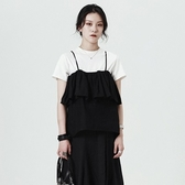吊帶背心-短款時尚優雅荷葉邊純色女上衣73sl37【巴黎精品】