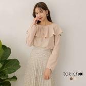 東京著衣-tokicho-多色蝴蝶結綁帶大V荷葉領上衣-S.M(181843)