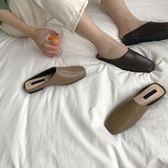 【狐狸跑跑】韓版新款PU包頭拖鞋套腳休閑半拖方頭平底單鞋女XX180