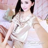 冰絲睡衣 睡衣女性感短袖套裝兩件套夏天韓版薄款冰絲綢家居服可愛大碼 果果輕時尚