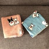 毛毯單人空調毯狗狗小被子沙發毯日系卡通可愛藍色法蘭絨單層【愛物及屋】