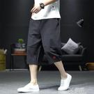 中國風亞麻短褲男士夏季薄款潮流大碼胖子寬鬆闊腿七分褲男燈籠褲 3C優購