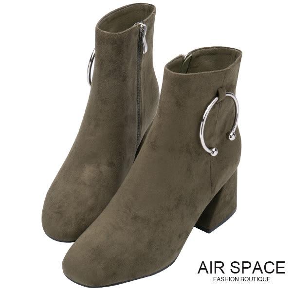 中筒靴 C型鐵環絨布中筒粗跟靴(綠)-AIR SPACE