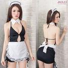 女僕裝 性感角色扮演服飾 深V開岔到肚臍連身裙 裸背黑色洋裝+白色圍裙- 愛衣朵拉