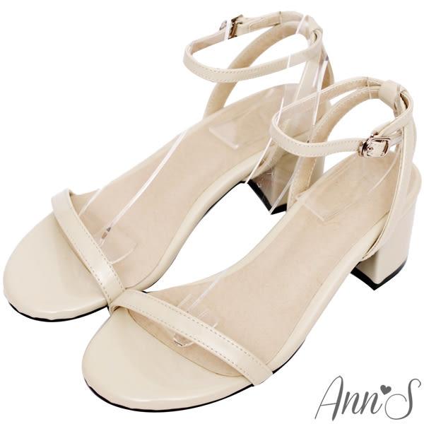 Ann'S質感簡約-一字細帶粗跟涼鞋-米白