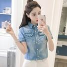 學院風牛仔襯衫女短袖夏新款韓版寬鬆顯瘦polo衫休閒復古打底襯衣 蘑菇街小屋