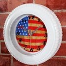 國旗款 輪胎鐘 多功能造型時鐘/鬧鐘/掛鐘 (可擺放、掛牆、具鬧鐘功能) 英倫風-米鹿家居