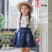 春款新款童裝韓版女童吊帶裙兒童背帶裙