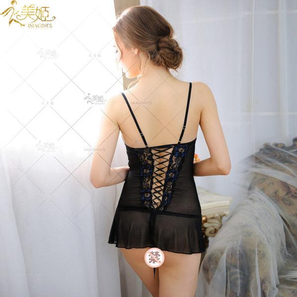 ♥♥衣美姬♥歐美精品優雅情趣睡衣 低胸蕾絲綁帶性感睡裙 夜晚戰袍 大碼可選