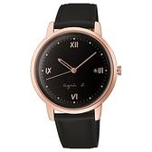 【台南 時代鐘錶 Agnes b.】BG8011X1 手寫風 日期顯示 皮革錶帶女錶 38mm 黑/玫瑰金 VJ32-KZD0K