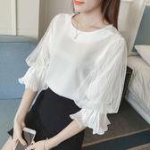 【年終大促】女裝新款正韓燈籠袖蕾絲上衣寬鬆大碼打底襯衫短袖雪紡衫女