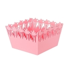糖果色方形花邊收納盒 桌面整理盒 雜物收...