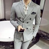 英倫男士雙排扣西裝春夏韓版青年修身三件套