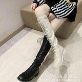 秋款中筒黑色馬靴長靴女切爾西靴綁帶高筒靴  騎士靴子  科炫數位