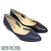 U33-21108 女款全真皮小坡跟尖頭鞋  極簡素面皮革壓花紋全真皮小坡跟尖頭鞋【GREEN PHOENIX】