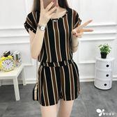 小香風短褲套裝女夏季時尚2018新款潮韓版洋氣夏裝雪紡兩件套女潮