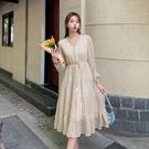 洋裝~禮服裙9501#新款黃色碎花連身裙...