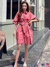 熱賣大碼洋裝 中長款收腰襯衫連身裙短袖女2021夏新韓版寬鬆大碼襯衣a字裙子ins coco