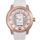 Tendence 天勢 圓弧系列透視手錶-玫瑰金框x白/47mm TY013001
