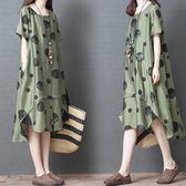 中大呎碼洋氣棉麻連身裙女夏季新款波點顯瘦寬鬆大碼不規則亞麻中長裙 coco衣巷