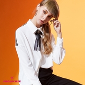 【SHOWCASE】氣質織帶造型領結襯衫(白)