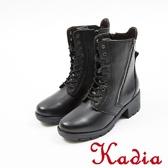 ★2017秋冬新品★kadia.真皮 時尚率性9孔綁帶中筒靴(7703-90黑)