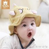 帽子秋冬 嬰幼兒秋天薄款0-3月遮陽防曬寶寶漁夫帽可愛超萌 晴天時尚館