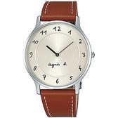 【台南 時代眼鏡 agnes b.】BJ5006X1 手寫風雅痞皮帶腕錶 MARCELLO 銀/棕色 39mm 開發票有保障