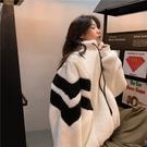 休閑外套 開衫外套 夾克羊羔毛加絨寬松韓版中長款立領拼色上衣外套女MA100-A 胖妹大碼女裝