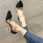 小清新高跟鞋細跟少女尖頭淺口貓跟