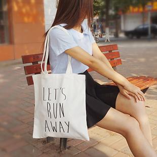 帆布包 let's run away 內袋 12安 超挺 帆布 【創意巴巴】