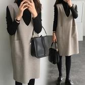 大碼毛呢背心裙女秋冬新品200斤胖mm中長款寬鬆連衣裙套裝兩件套 後街五號