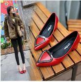 春季新款版尖頭淺口心形幾何5cm中跟紅色婚鞋Eb15887『M&G大尺碼』