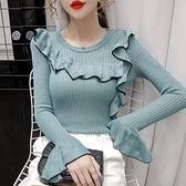 VK精品服飾 韓國風時尚不規則拼色喇叭袖色修身長袖上衣