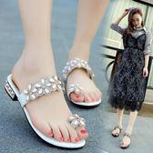 韓版時尚拖鞋花朵水鑽涼鞋平跟夾腳沙灘鞋女鞋簡約