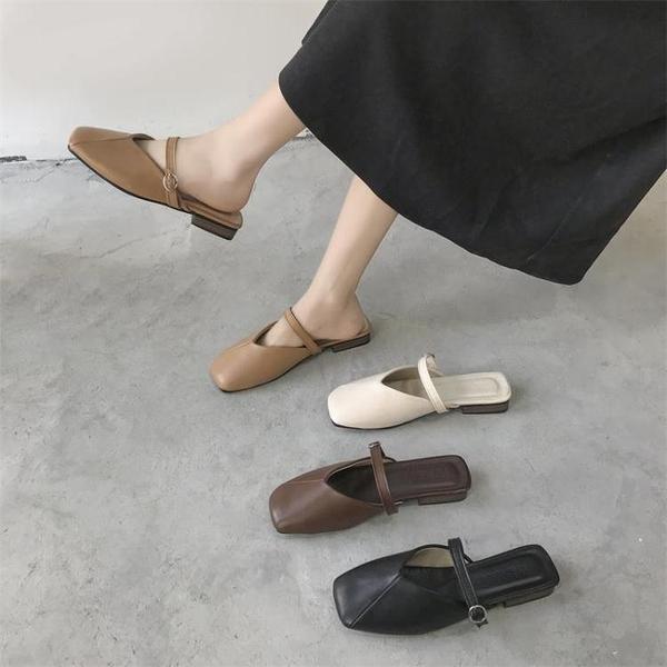 半拖鞋春夏季新款懶人半拖鞋女方頭奶奶鞋韓版平底包頭涼鞋外穿百搭  【全館免運】