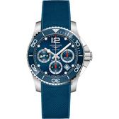 【滿額禮電影票】LONGINES 浪琴 深海征服者浪鬼陶瓷計時潛水機械錶-藍/41mm L37834969