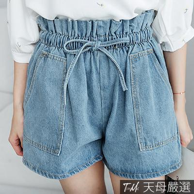 【天母嚴選】抽繩綁帶花苞腰大口袋丹寧牛仔短褲(共二色)
