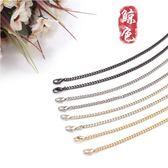 雙十二鉅惠 包鍊女包配件包包鍊子金色鍊條金屬包鍊二邊磨小號斜跨金屬鍊